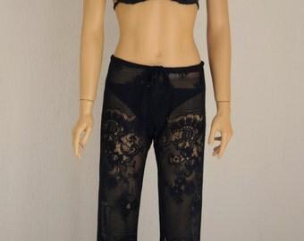 Black lace beach pants/Crochet lace black beach pants/Yoga pants/Festival pants/Cover up/Beach lounge pants/Bell bottoms/Women leggings