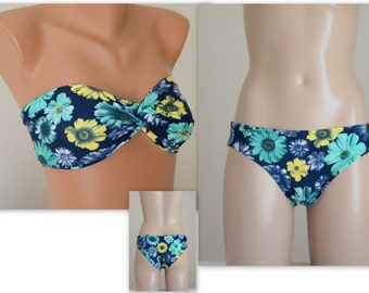 PADDED Navy blue floral bandeau with removable neck strap and full coverage bottoms-Swimsuit-Swimwear-Bathing suit-XS-S-M-L-XL
