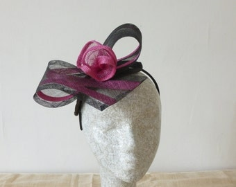 Black Fascinator with Pink highlights for races and weddngs