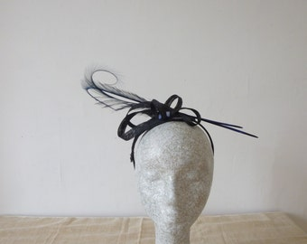 Black and Blue Fascinator with Feathers