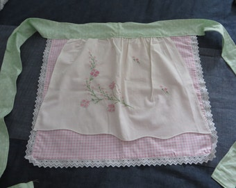 Vintage pillowcase reclaimed as Apron makes for a unique gift!