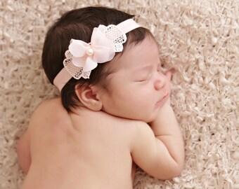 Bow Headband, Pearl Baby Headband, Elastic Headband, Baby Girl, Birthday, Christening, Photo Prop