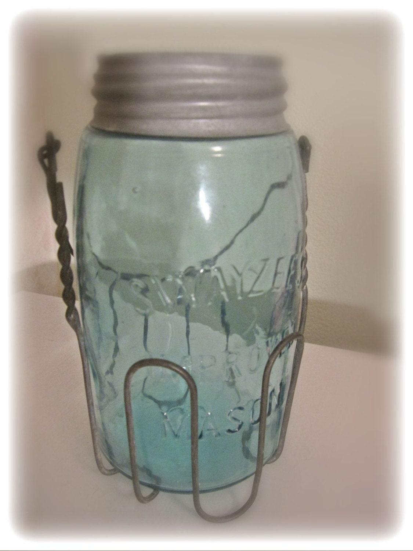 antique vintage blue green mason jar vintage by. Black Bedroom Furniture Sets. Home Design Ideas
