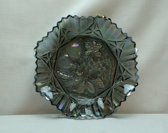 Beautiful Pioneer Federal Depression Carnival Glass Serving Bowl for Easter, Smoky Blue/Grey, Iridescent, Fluted Sides, Fruit Motif
