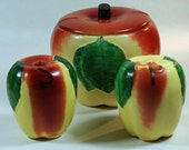 Apples Salt, Pepper, and Sugar Set Antique Just Like Grandma's Large 1940s Spice and Sugar Storage/Servers