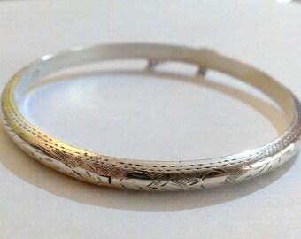 Vintage Etched Sterling Silver Bangle Bracelet