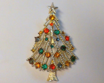 Christmas Tree Brooch / Pin Gold Tone with Colored Rhinestones