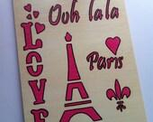 Ooh la la paris art stencil wooden table