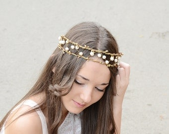 Boho, Princess Viking Crown, bridal pearl crown,bridal tiara, bridal halo, bridal headpiece,rustic, woodland, wedding pearl headband