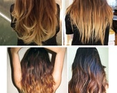 """Toffee Cappuccino Ombre Hair,Dark Brown with a slow fade to caramel and toffee, 22"""", Custom Your Base Color, Dark Brown Ombre, Studio She"""