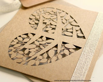Rustic laser-cut wedding invitation with love heart tree  - ideal for a country/ vintage/ vineyard/ barn/ shabby chic wedding