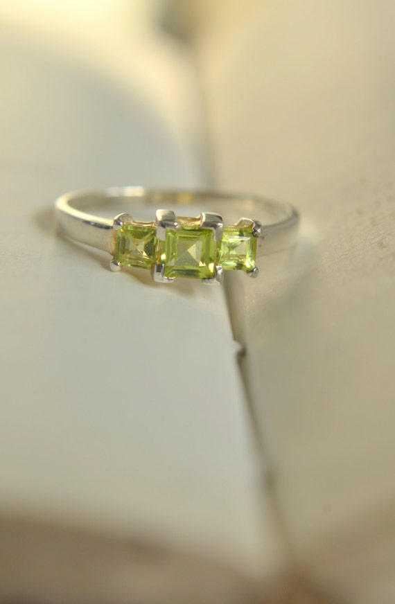CLEARANCE! 3-Stone Square Peridot Sterling Silver Ring/Engagment Ring/Promise Ring/August Birthstone