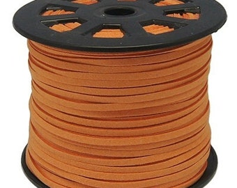 10ft Faux Suede Cord Lace Leather Cord Flat Orange rust 3x1.5mm, microsuede, soft leather lace