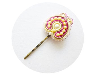 Soutache Hair Pin, Ivory & Hot Pink Bridal Bobby Pin, Ivory Pearls Wedding Hair Pin, Hand Embroidered Bridal Bobby pin