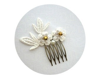 Ivory Lace Leaf Mini Wedding Hair Comb, Small Bridal Hair Comb, Dreamy Leafy Bride, Weddings, Bronze, Gold Weddings