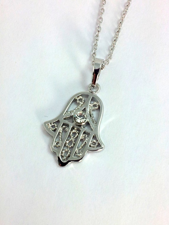silver hamsa necklace white gold filled silver hand of fatima. Black Bedroom Furniture Sets. Home Design Ideas