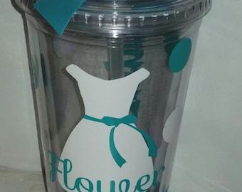 Flower Girl Gift- Tumbler Wedding -   Flower Girl- Ring Bearer- Any Color Any Design Custom