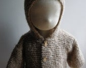 Hooded coat for baby alpaca boucle - natural baby - made to order - pick size and color - free shipping worldwide