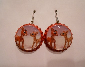 Rudolph The Red Nosed Reindeer and Clarice Christmas bottle cap earrings