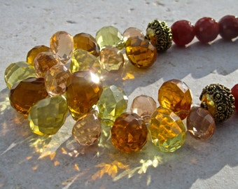 Big Bold Chunky Crystal Statement Necklace, Big Crystal Teardrops, Red Faceted Agate, Natural Stone, Multi Colour, Sparkly Necklace   658
