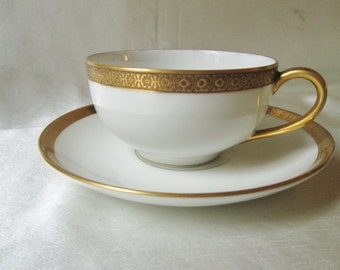 Antique Limoges Classic White Porcelain with Gold Trim Tea Cup and Saucer. Mothers Day Gift, Fathers Day Gift, Wedding Gift, Christmas Gift