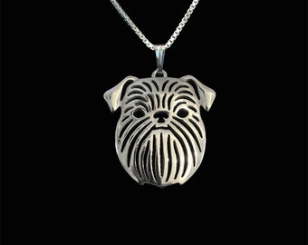 Brussels Griffon (rough coat) - sterling silver pendant and necklace.
