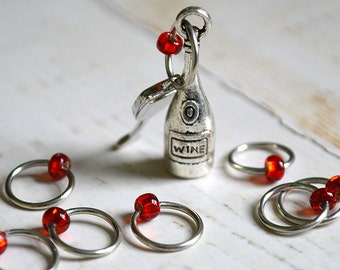 Vino Please / Stitch Markers for the Wine Connoisseur/ Small Medium Large Sizes Available