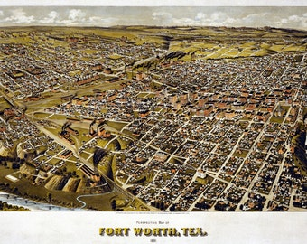 FORT WORTH TEXAS 1891 Bird's Eye View Panoramic Map Digitally Remastered Poster Digital Download