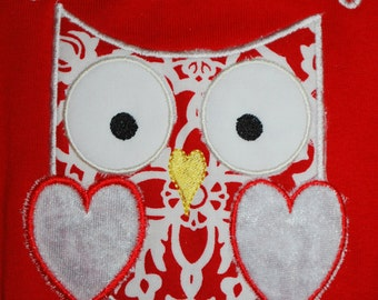 INSTANT DOWNLOAD Valentine Owl Applique Design Machine Embroidery Owl Always Love You