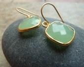 Petite square chalcedony earrings.