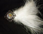 white feather bridal fascinator hair clip with peacock accents & antique style gold, rhinestone centerpiece