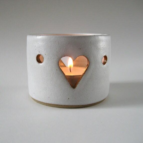 Ceramic Tealight Holder Heart Motif