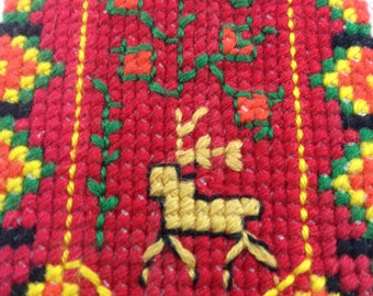 Deer needlepoint forest plant small handmade craft 4x6 fabric art rasta colors germanic