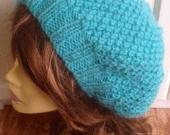 Unique womens designer hand knit hat turquoise irish Aran beret yarn beanie slouch hat