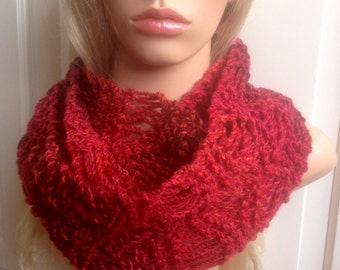Ooak unique womens designer lace effect hand knit/crocheted spring summer cowl,scarf,infinity neck warmer,red