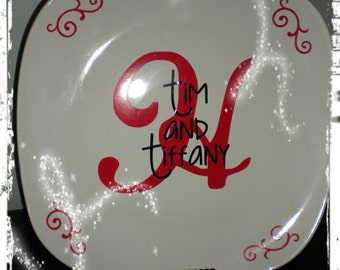 Personalized Monogram Plate Wedding Gift Mr Mrs Engagement Housewarming Christmas Great Gift