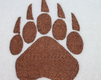 Machine Embroidery File ONLY Cougar Paw Print Five toes Animal Zoo