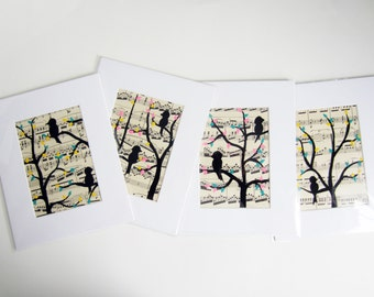 love Birds on a tree branch matted vintage sheet music art painting set of 4 5x7 turquoise teal pink yellow