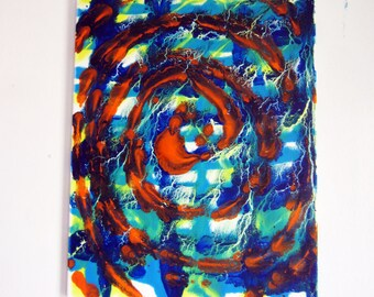 colorful oil painting art 16x20 modern abstract blue green yellow orange original artwork free shipping