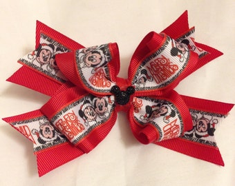 Disney Minnie and Mickey Christmas Hair Bow