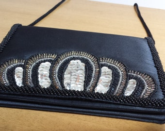 Vintage Black Satin Beaded And Sequined Purse 1990s