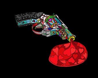 gun , art, wall art, A4 Giclee print