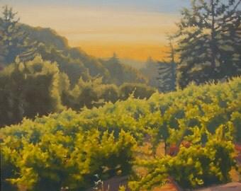 Sunrise - Winery - Landscape - Original Oil Painting - Plein Air - Wine - Vines - Summer - Farm - Rural - Vineyard
