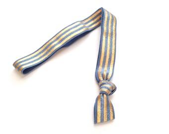 1 Smokey Blue Gold Striped Print Handmade Elastic Headband