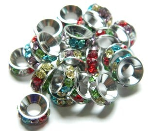 Mixedcolors Rhinestone Crystal Big Hole Beads, Rondelle Spacer, Purple Rondelle, European Bracelets 10mm