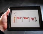 Sur le fil : original framed watercolor