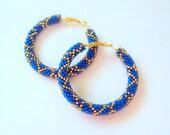 Beaded blue and gold hoop earrings - Beadwork - beaded jewelry - seed beads earrings - big hoop earrings