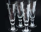 Vintage Tall Pilsner Beer or Champange or Liquor Flutes Star Burst Hand Etched Pattern Set of 4 Delicate Mid Century Modern - cherryREVOLVER