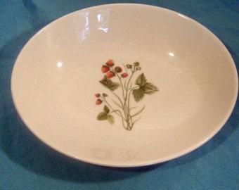 Shenango China Peter Terris Wild Strawberry Pattern - Oval Vegetable Bowl - 1950s