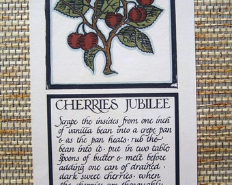 Cherries Jubilee Linocut Print by David Lance Goines